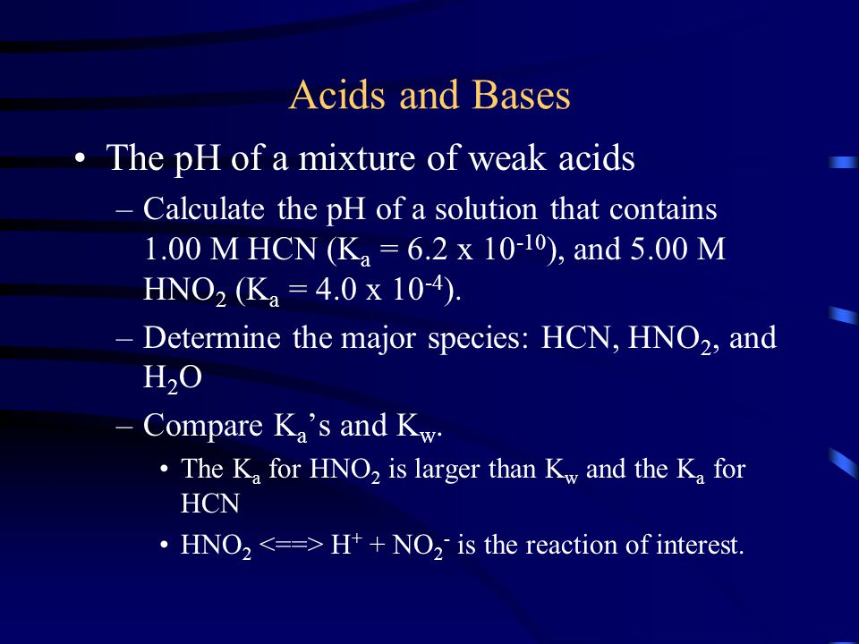 Acids and Bases The pH of a mixture of weak acids
