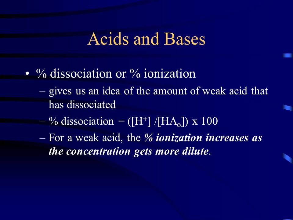 Acids and Bases % dissociation or % ionization