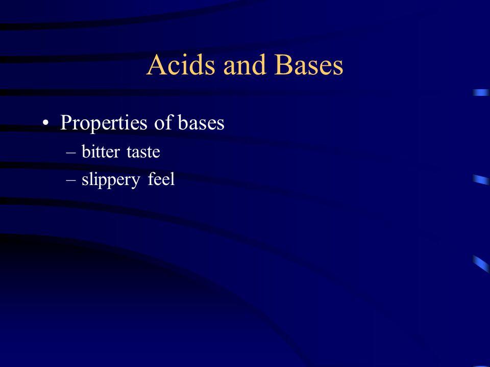 Acids and Bases Properties of bases bitter taste slippery feel
