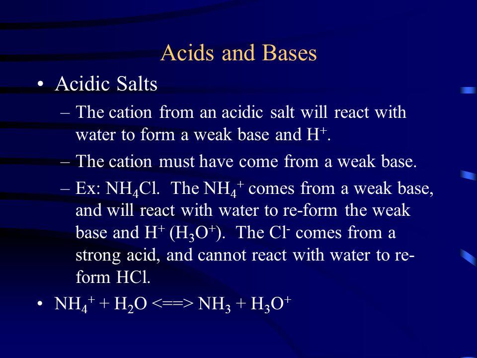 Acids and Bases Acidic Salts