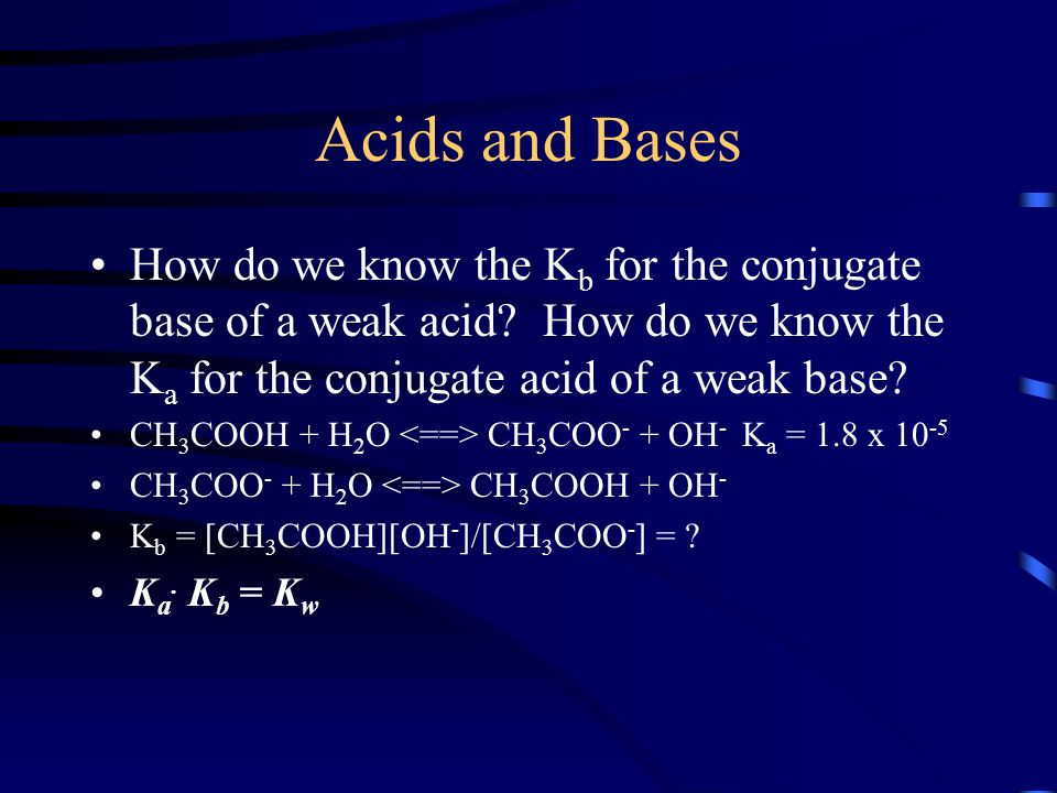Acids and Bases How do we know the Kb for the conjugate base of a weak acid How do we know the Ka for the conjugate acid of a weak base