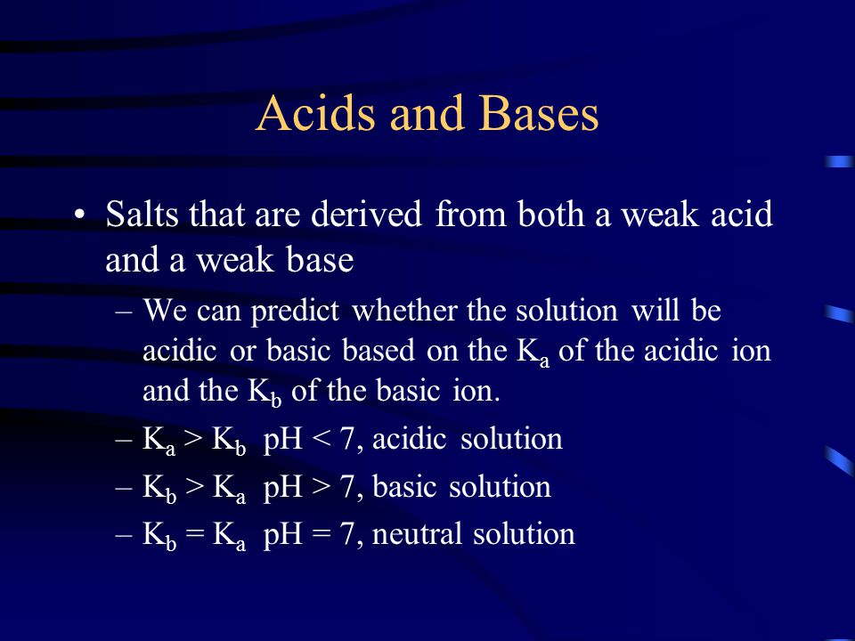 Acids and Bases Salts that are derived from both a weak acid and a weak base.