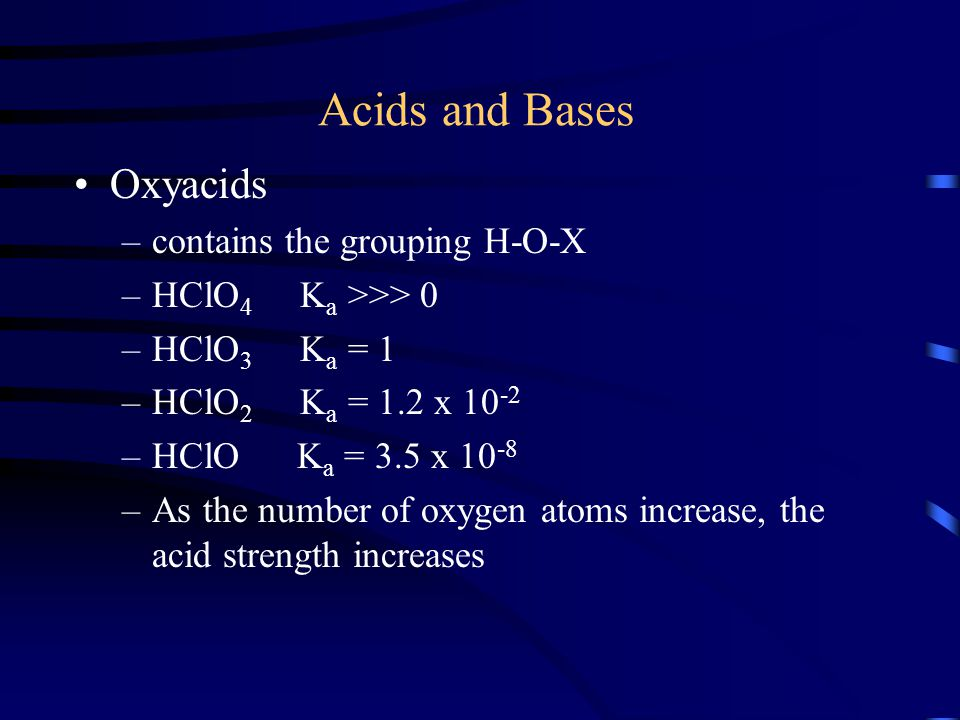Acids and Bases Oxyacids contains the grouping H-O-X