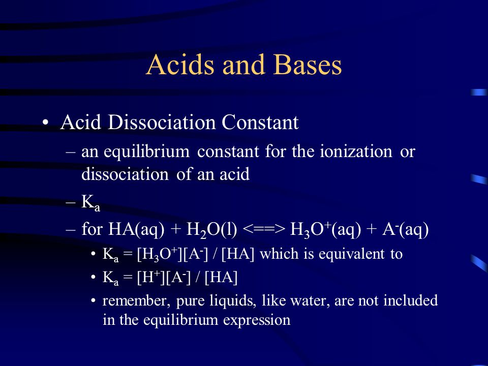 Acids and Bases Acid Dissociation Constant
