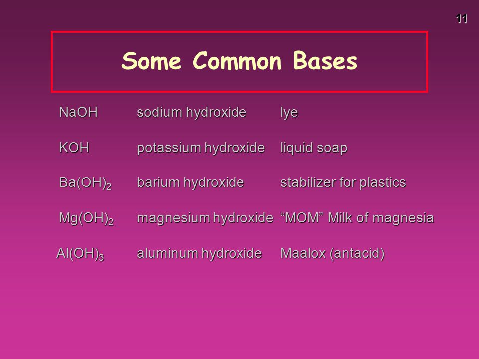 Some Common Bases NaOH sodium hydroxide lye
