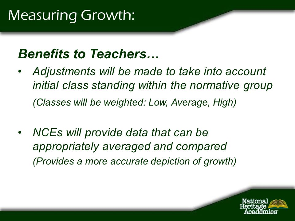 Measuring Growth: Benefits to Teachers…