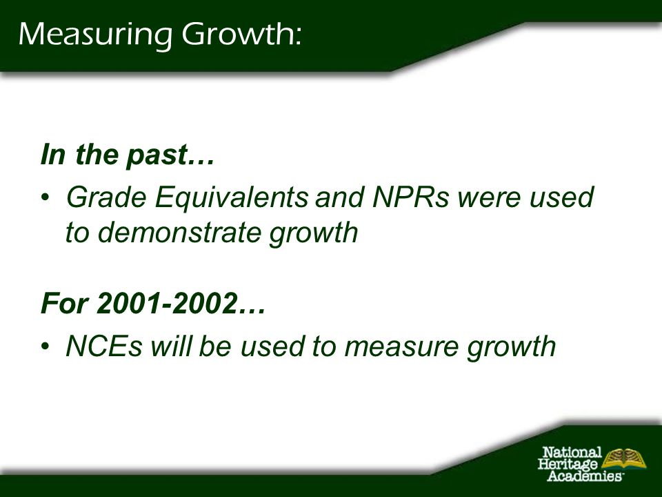 Measuring Growth: In the past…