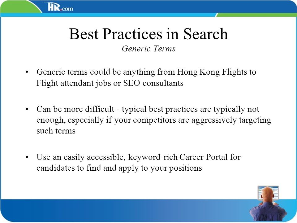 Best Practices in Search Generic Terms