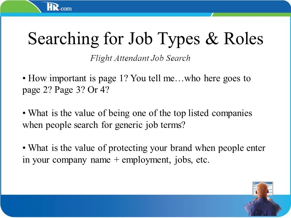 Searching for Job Types & Roles