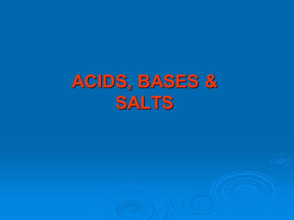 CHEMISTRY RESOURCE 9C ACIDS, BASES & SALTS