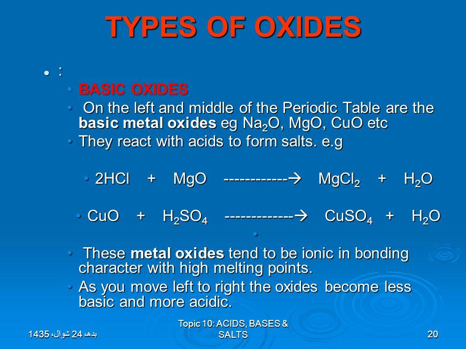 TYPES OF OXIDES : BASIC OXIDES