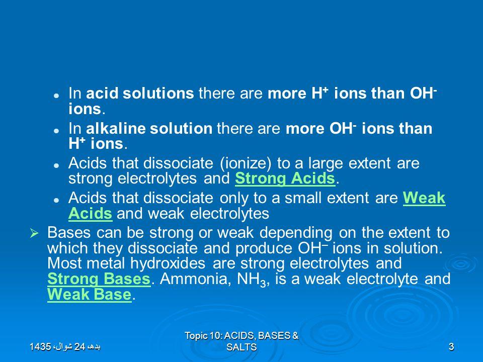 Topic 10: ACIDS, BASES & SALTS