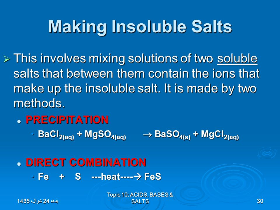 Making Insoluble Salts