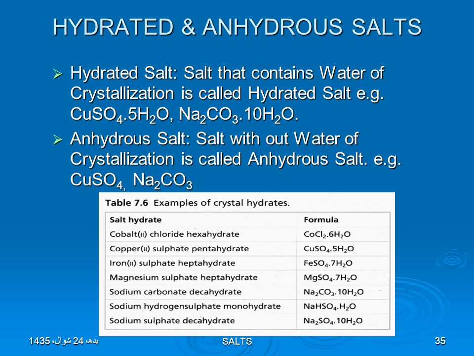 HYDRATED & ANHYDROUS SALTS