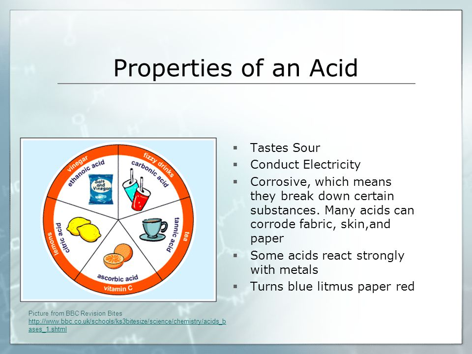 Properties of an Acid Tastes Sour Conduct Electricity