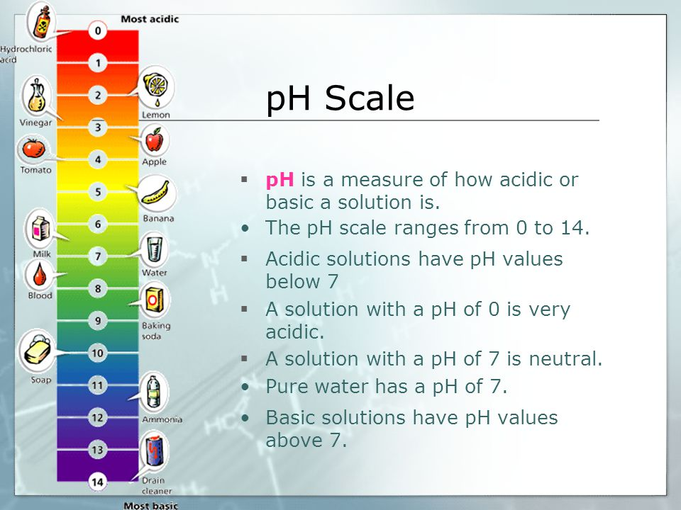 pH Scale pH is a measure of how acidic or basic a solution is.