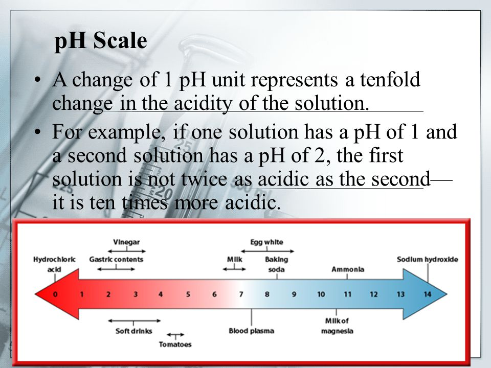 pH Scale A change of 1 pH unit represents a tenfold change in the acidity of the solution.