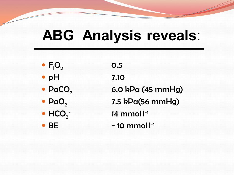 ABG Analysis reveals: FiO2 0.5 pH 7.10 PaCO2 6.0 kPa (45 mmHg)