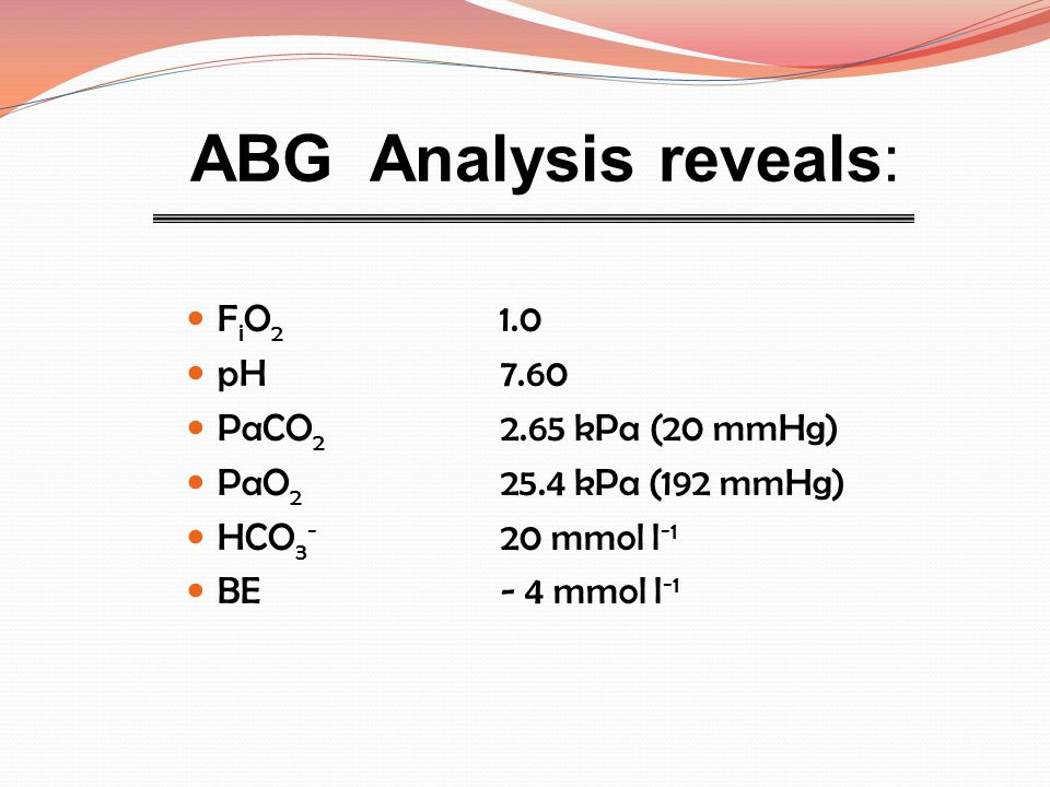 ABG Analysis reveals: FiO2 1.0 pH 7.60 PaCO2 2.65 kPa (20 mmHg)