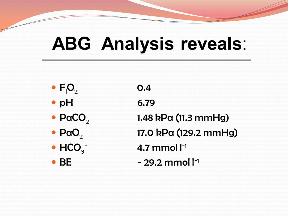 ABG Analysis reveals: FiO2 0.4 pH 6.79 PaCO2 1.48 kPa (11.3 mmHg)