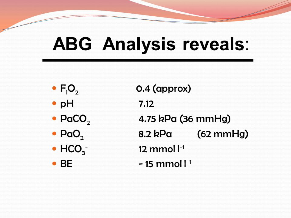 ABG Analysis reveals: FiO2 0.4 (approx) pH 7.12