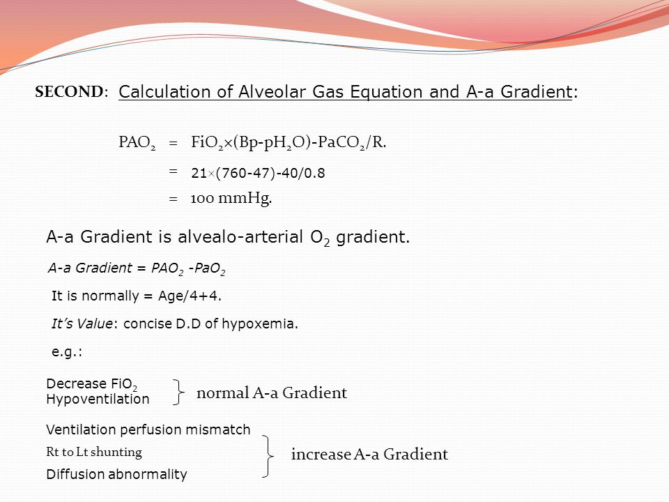 Calculation of Alveolar Gas Equation and A-a Gradient: