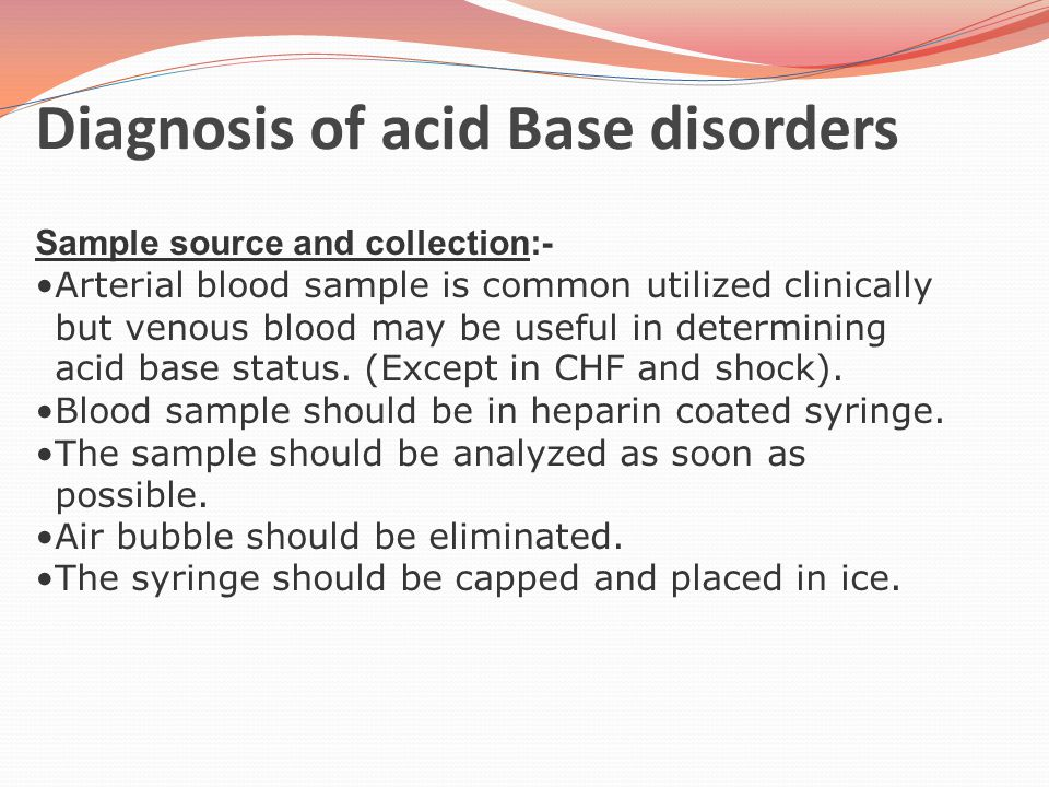 Diagnosis of acid Base disorders