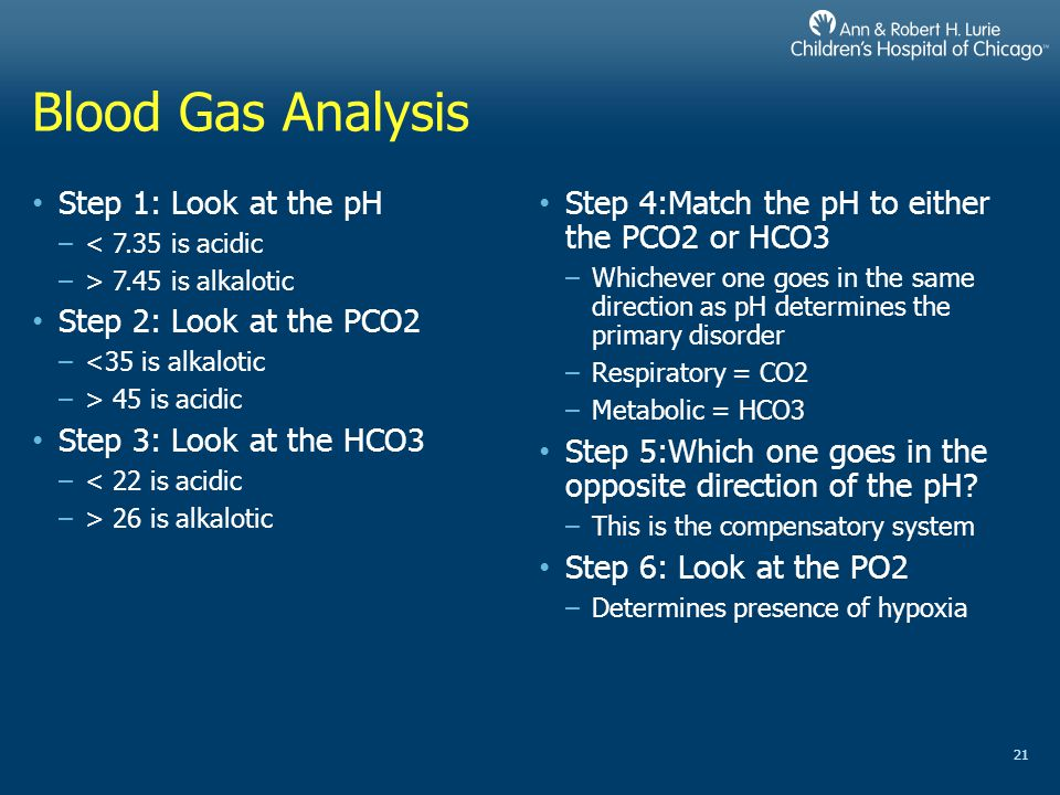 Blood Gas Analysis Step 1: Look at the pH Step 2: Look at the PCO2