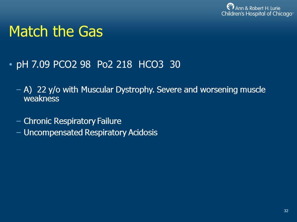 Match the Gas pH 7.09 PCO2 98 Po2 218 HCO3 30