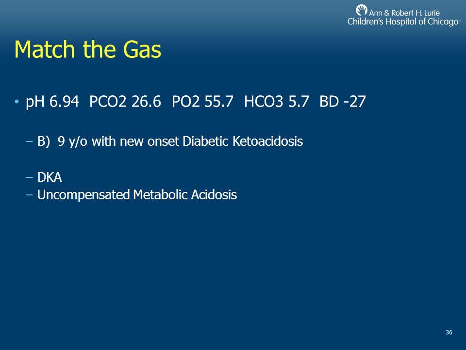 Match the Gas pH 6.94 PCO2 26.6 PO2 55.7 HCO3 5.7 BD -27