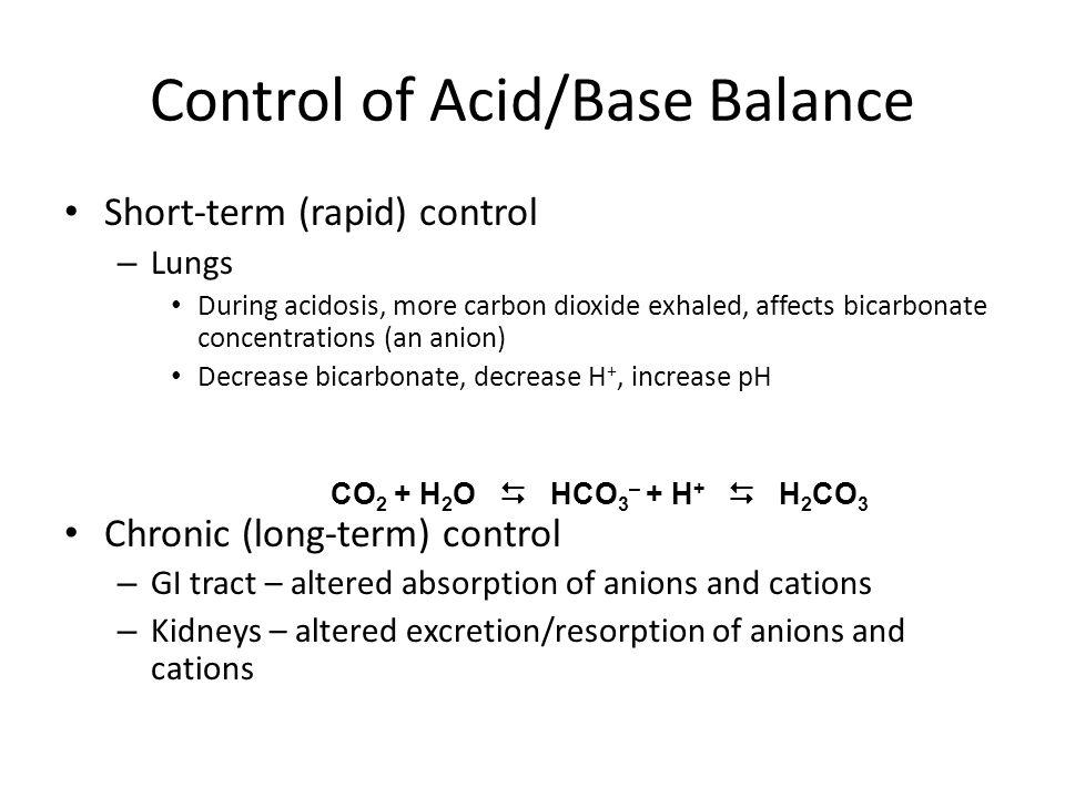 Control of Acid/Base Balance