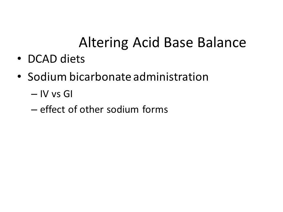 Altering Acid Base Balance