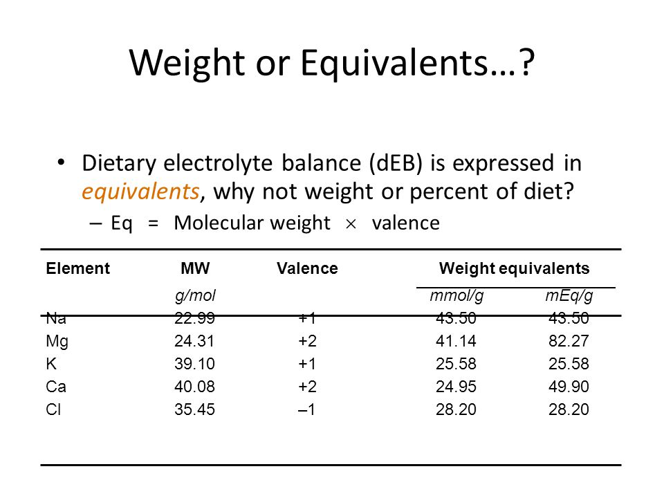 Weight or Equivalents…