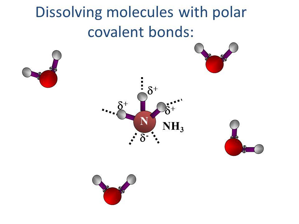 Dissolving molecules with polar covalent bonds:
