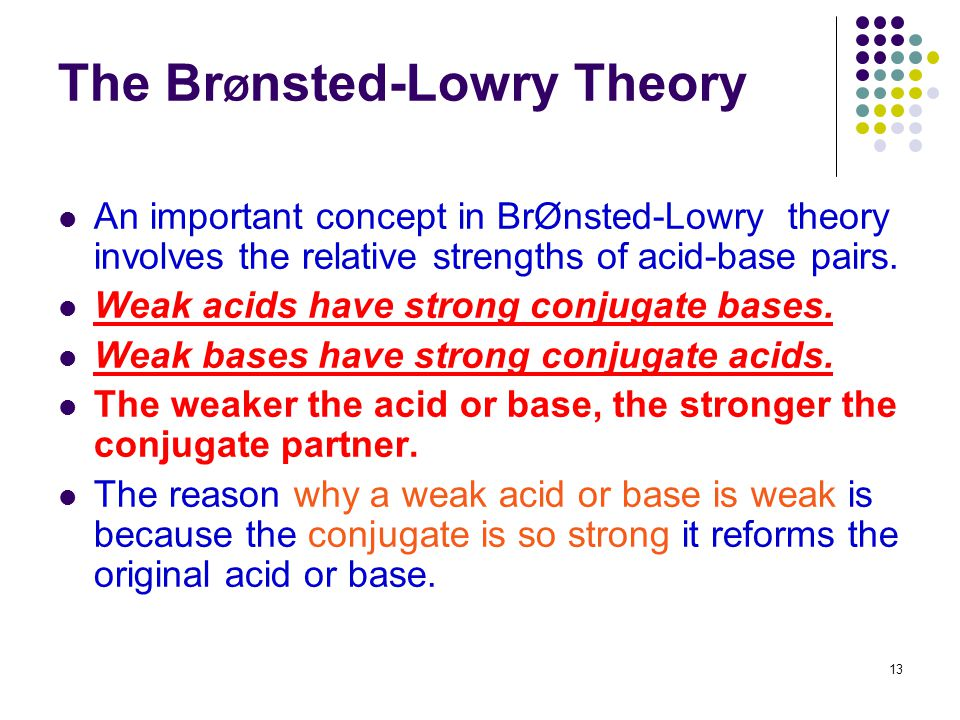 The BrØnsted-Lowry Theory