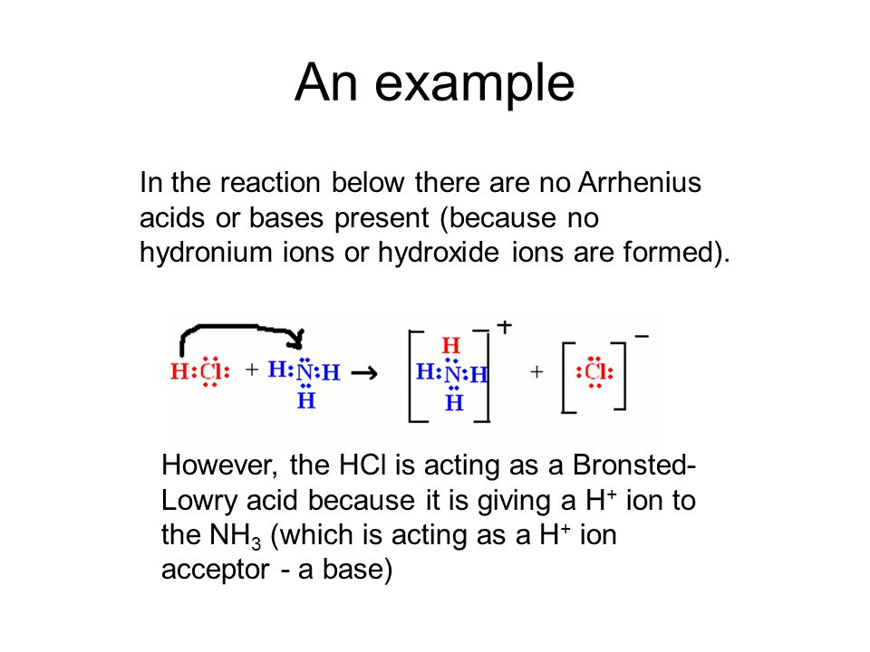 An example In the reaction below there are no Arrhenius acids or bases present (because no hydronium ions or hydroxide ions are formed).
