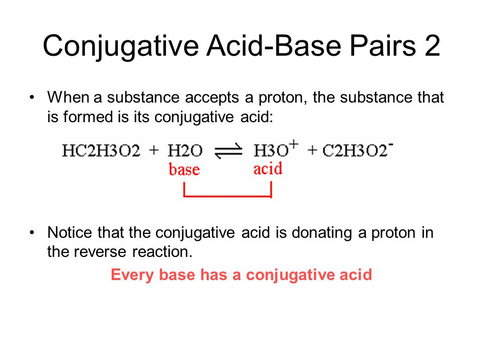 Conjugative Acid-Base Pairs 2