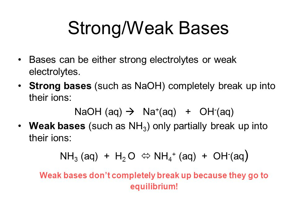 Strong/Weak Bases Bases can be either strong electrolytes or weak electrolytes. Strong bases (such as NaOH) completely break up into their ions: