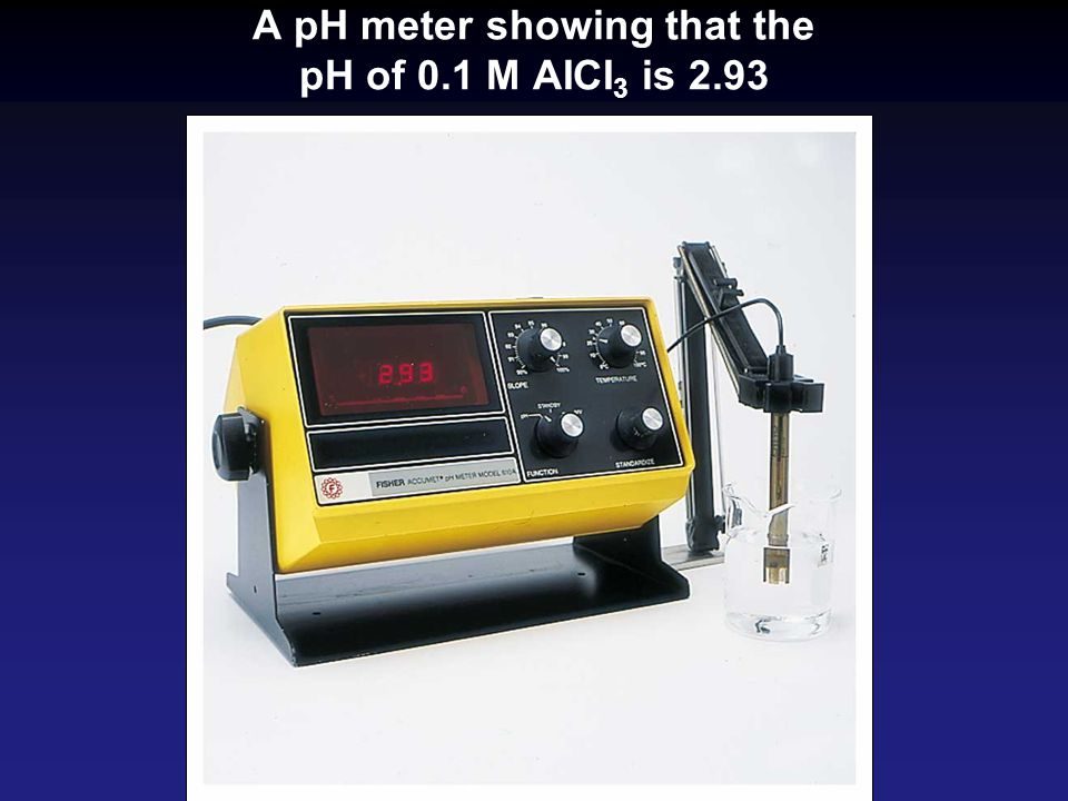 A pH meter showing that the pH of 0.1 M AICI3 is 2.93
