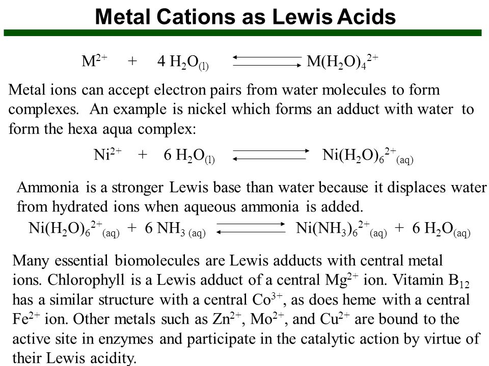 Metal Cations as Lewis Acids