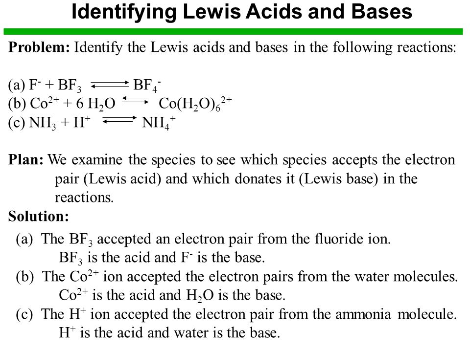 Identifying Lewis Acids and Bases