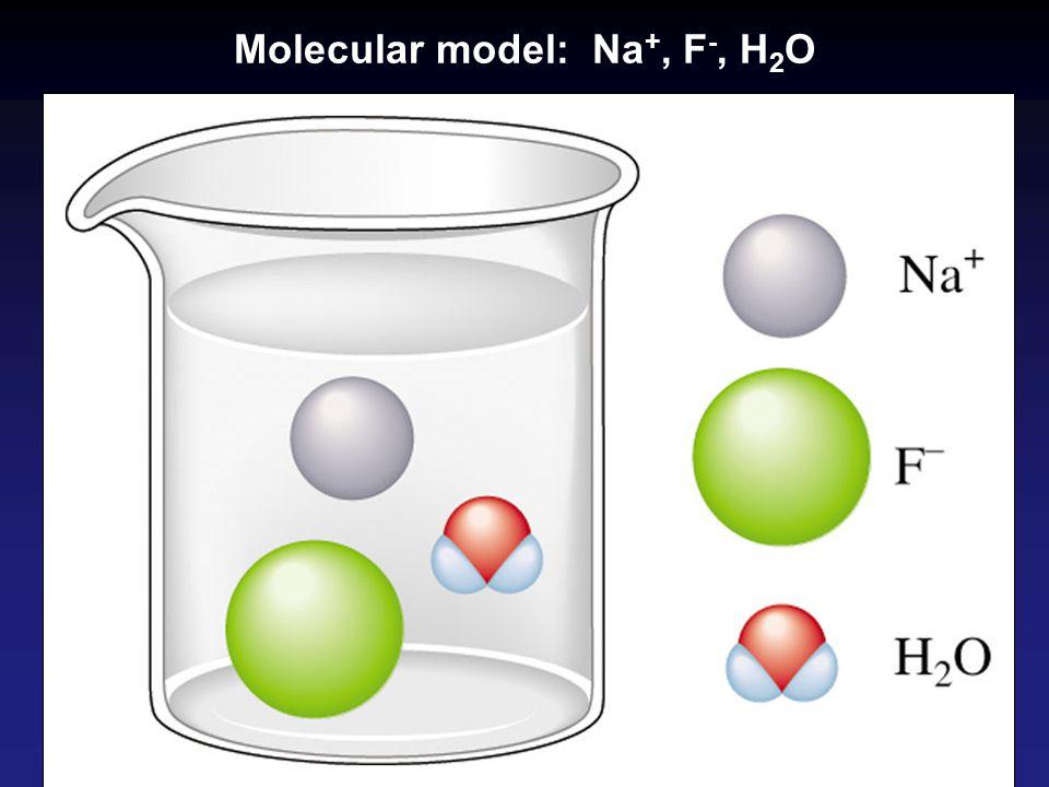 Molecular model: Na+, F-, H2O