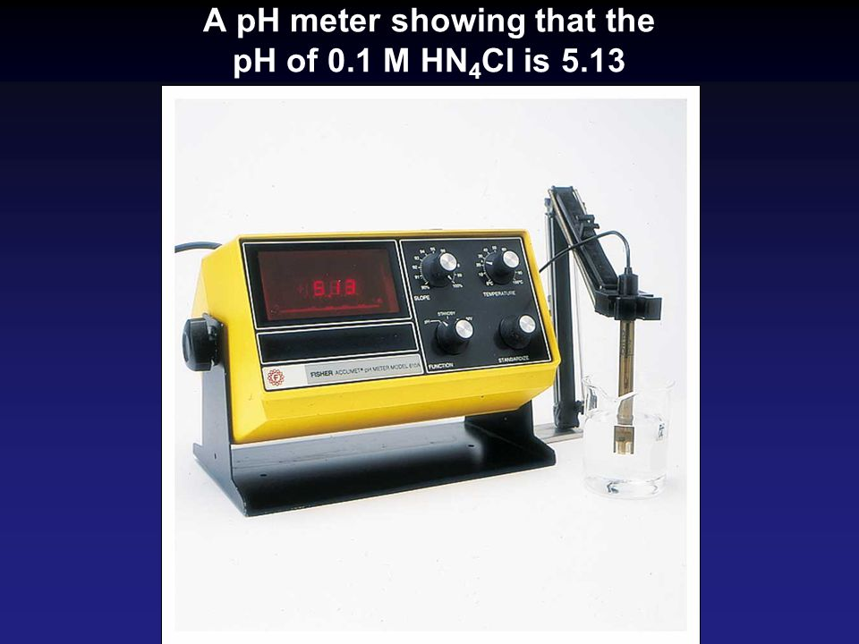A pH meter showing that the pH of 0.1 M HN4CI is 5.13