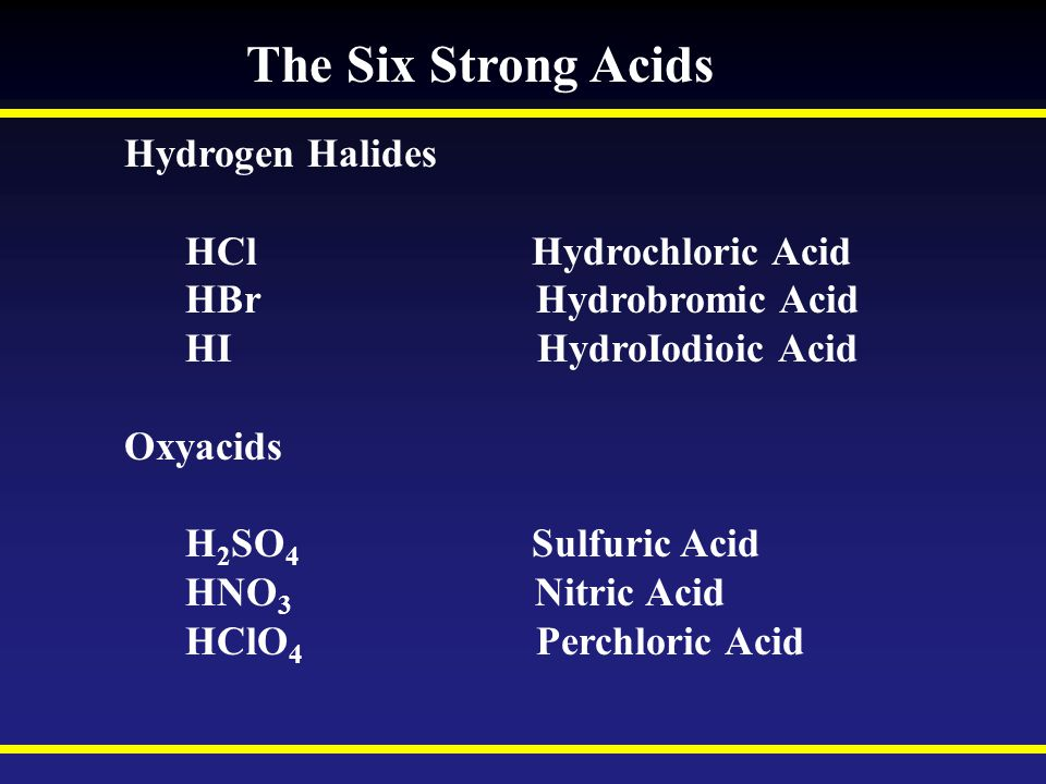 The Six Strong Acids Hydrogen Halides HCl Hydrochloric Acid