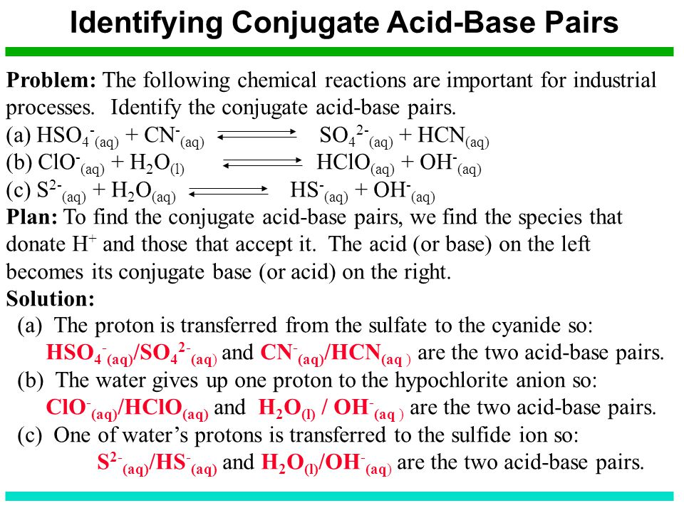 Identifying Conjugate Acid-Base Pairs