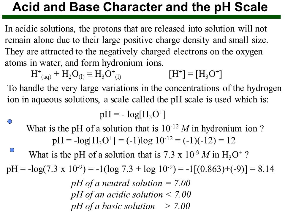 Acid and Base Character and the pH Scale