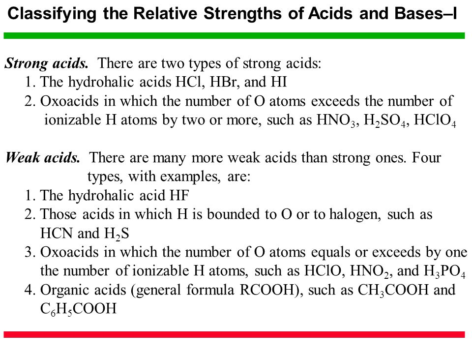 Classifying the Relative Strengths of Acids and Bases–I