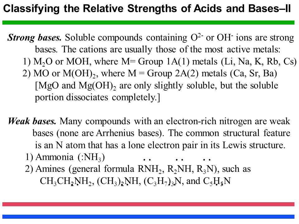 : : : : : : : Classifying the Relative Strengths of Acids and Bases–II