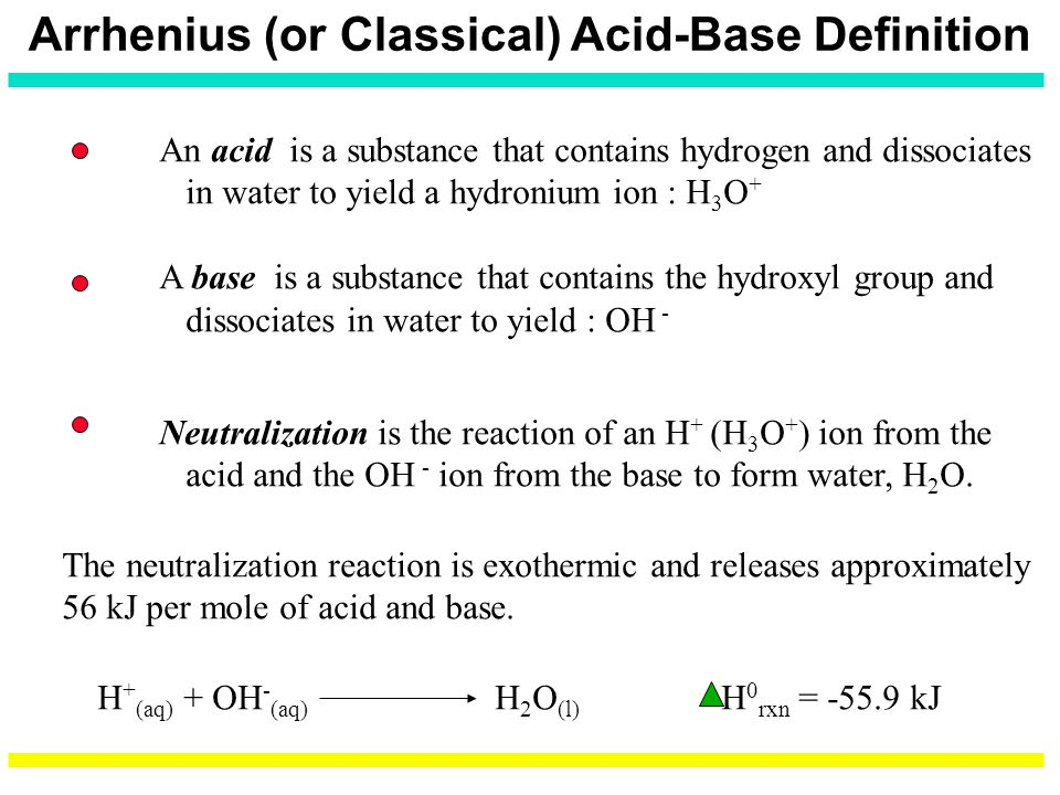 Arrhenius (or Classical) Acid-Base Definition