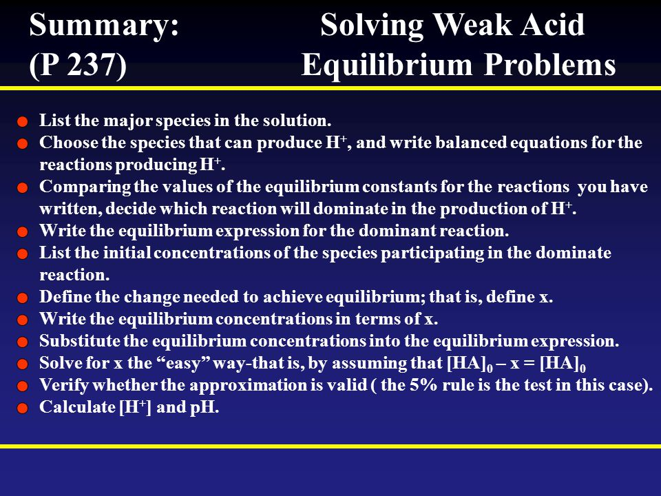 Summary: Solving Weak Acid (P 237) Equilibrium Problems